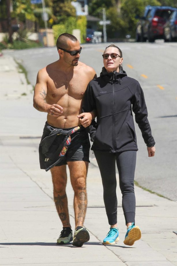 Robin Wright and husband Clement Giraudet - Out in Santa Monica