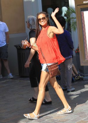 Rochelle Aytes in shorts shopping at the Grove