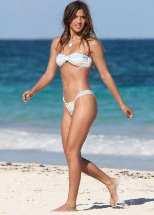Rocky Barnes in White Bikini at the beach in Tulum