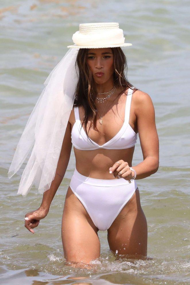 Rocky Barnes in White Bikini - Photoshoot at the beach in Miami