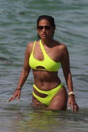 Rocsi Diaz in Neon Yellow Bikini on the beach in Miami