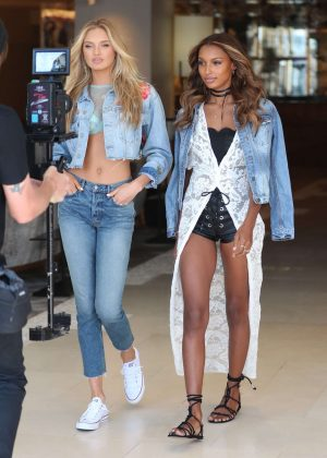 Romee Strijd and Jasmine Tookes - Film a press shoot for Victoria's Secret in LA