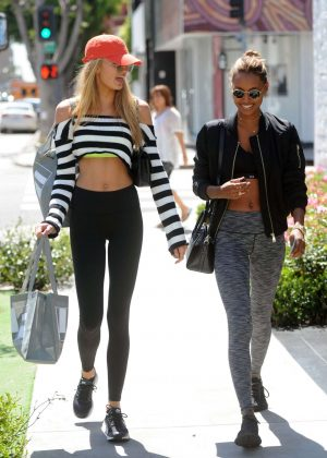 Romee Strijd and Jasmine Tookes Leaving the Ivy in Los Angeles