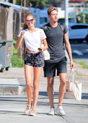 Romee Strijd in shorts with boyfriend out in New York