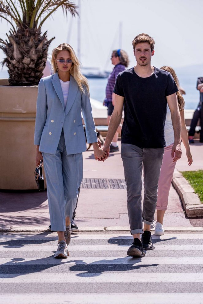 Romee Strijd with her boyfriend Laurens out in Cannes