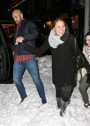 Ronda Rousey and Travis Browne after the SNL Afterparty in NYC