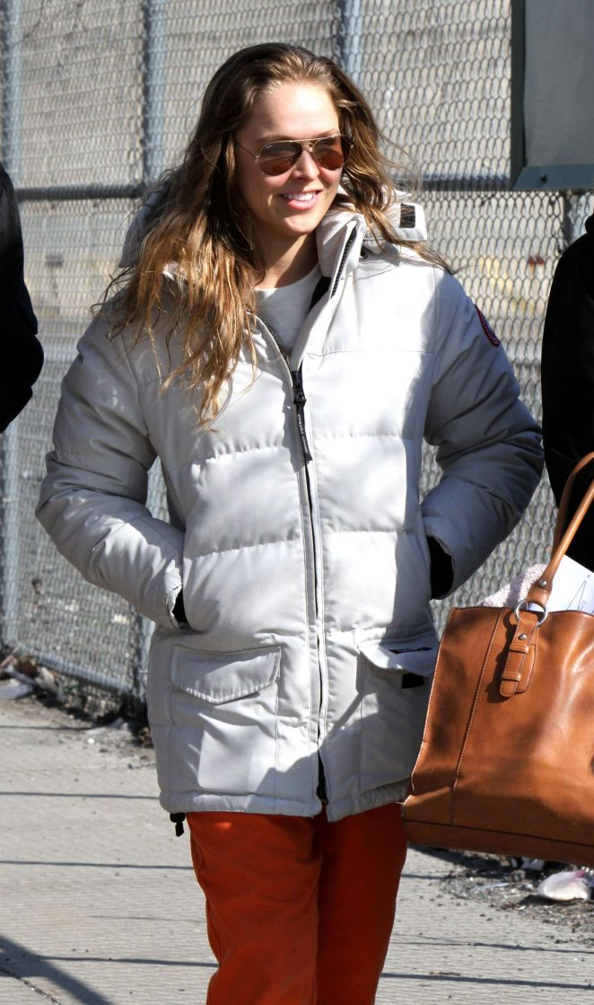 Ronda Rousey at the NBC series 'Blindspot' set inside a factory in Brooklyn