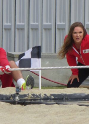 Ronda Rousey - Filming 'Battle of the Network Stars' TV show in Malibu