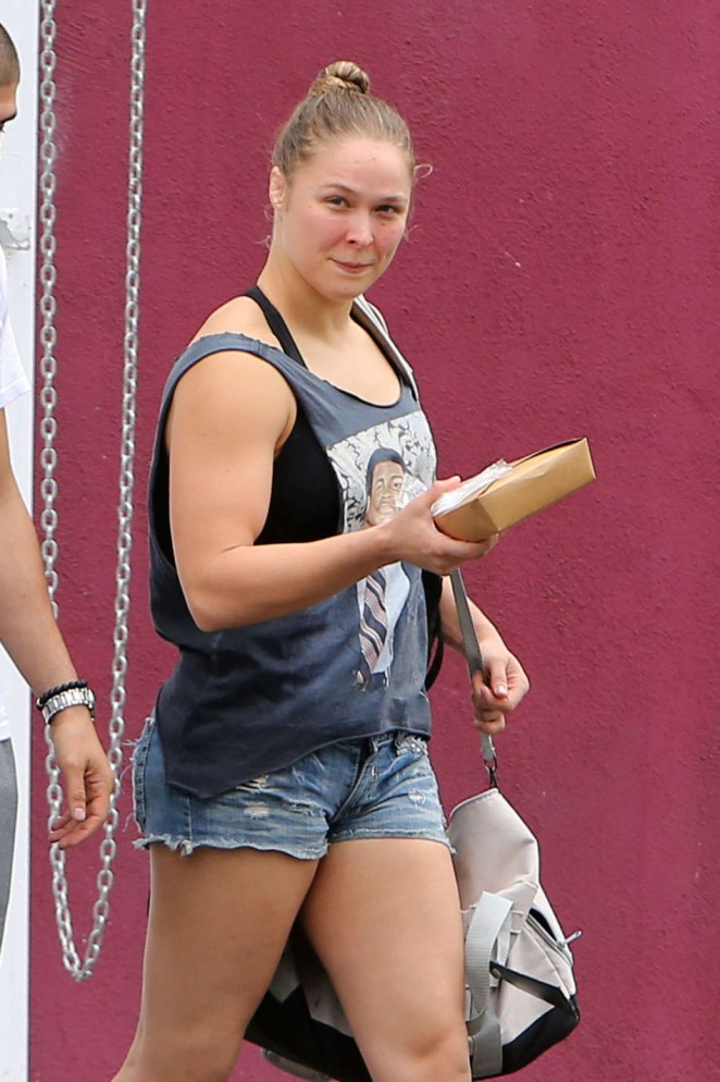 Ronda Rousey in Denim Shorts out in LA