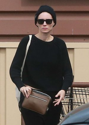 Rooney Mara at grocery shopping at Lassens Market in Los Feliz