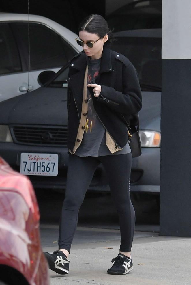 Rooney Mara in Leggings Out in LA