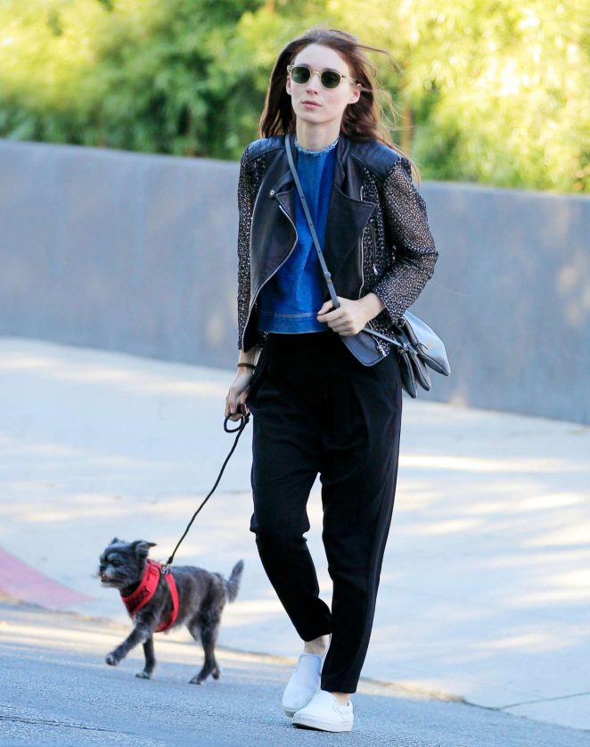 Rooney Mara with her dog in Beverly Hills
