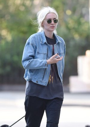 Rooney Mara with her new blonde hair in New York City
