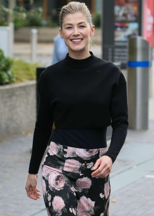 Rosamund Pike - Arriving at BBC Radio Two Studios in London