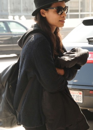 Rosario Dawson at LAX Airport in Los Angeles