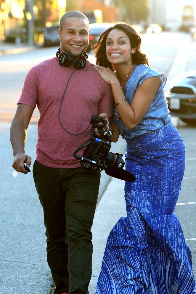 Rosario Dawson: Filming in Los Angeles -16