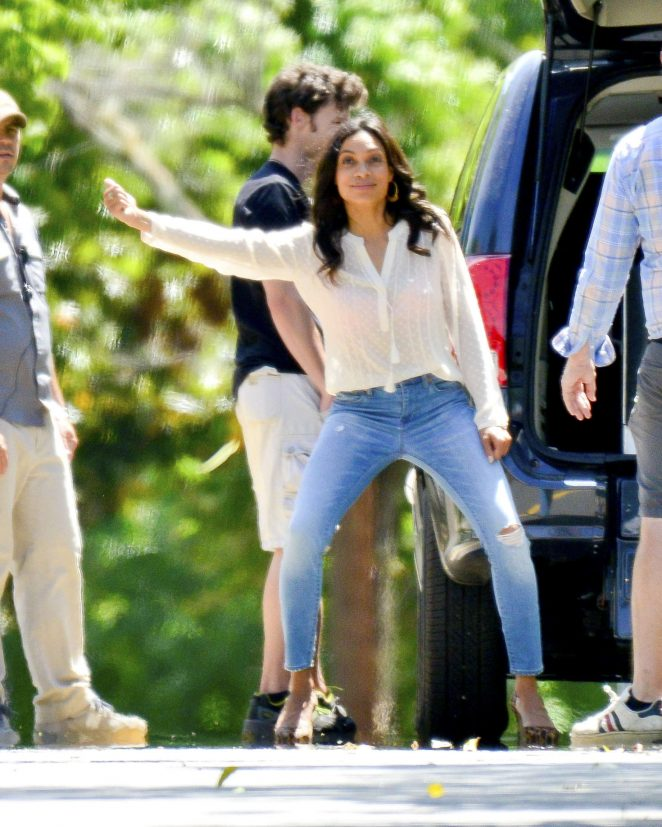 Rosario Dawson on the set of 'Krystal' in Georgia
