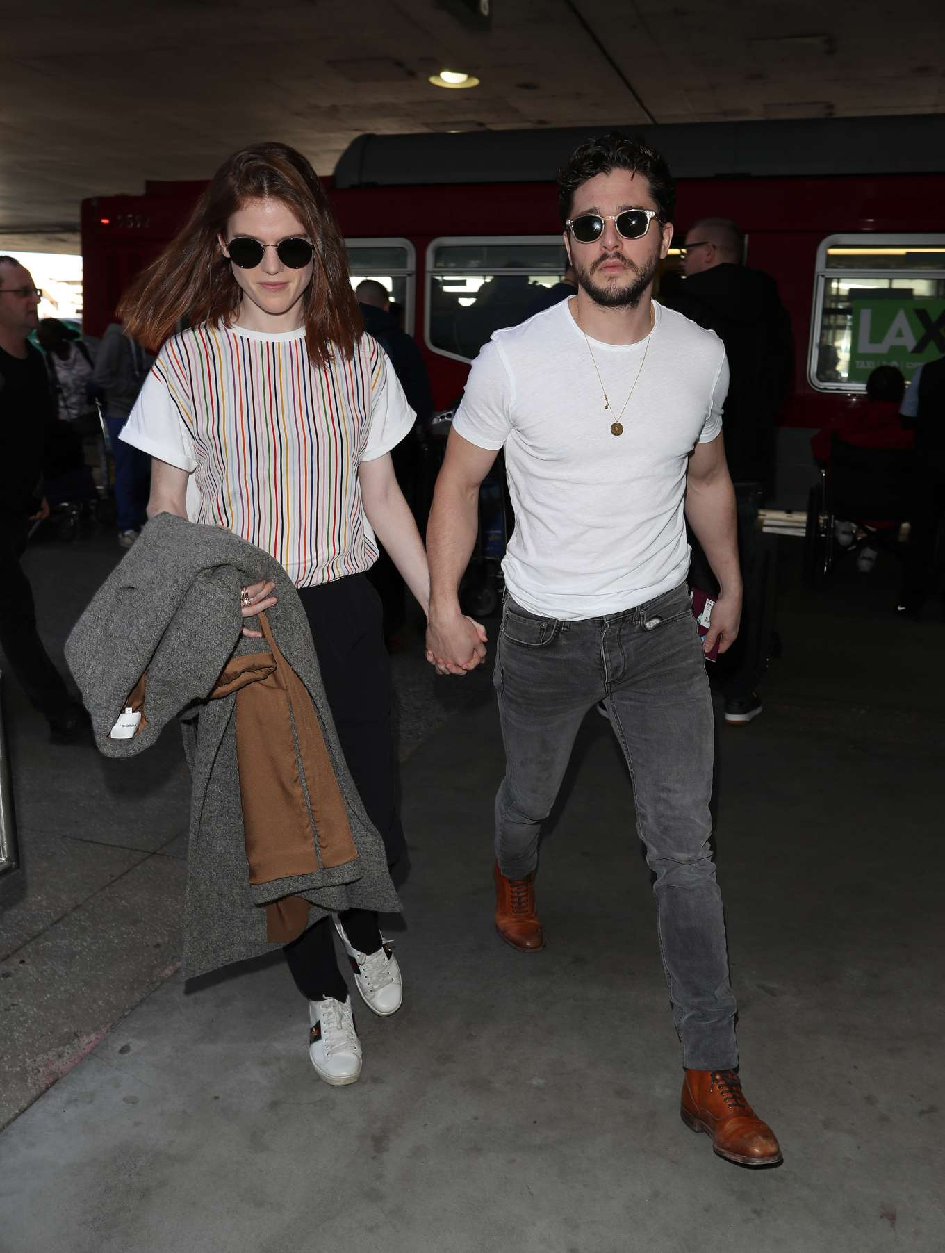 Rose Leslie and Kit Harington - Arrives at LAX airport in Los Angeles