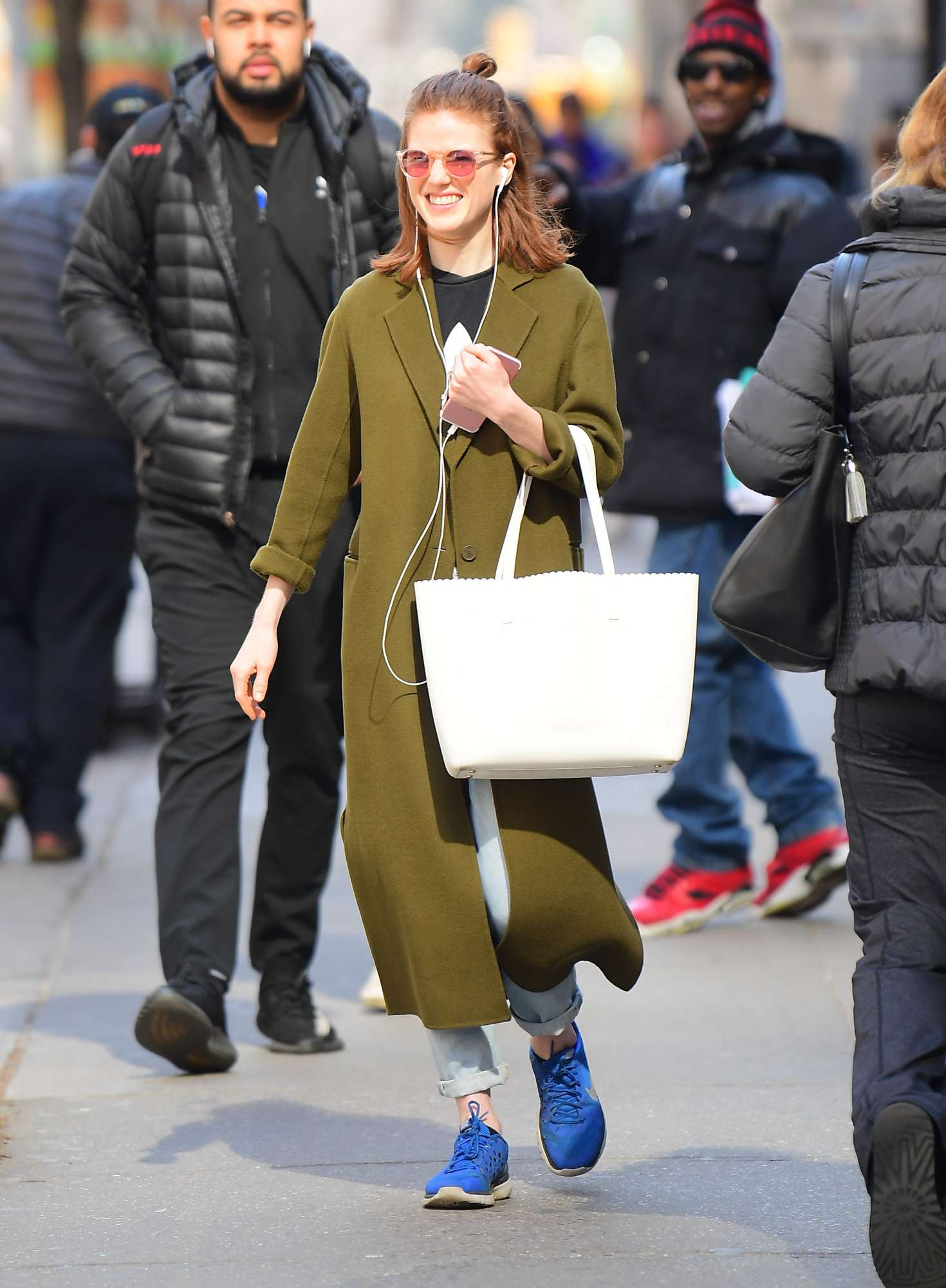Rose Leslie in Green Coat - Out in NYC
