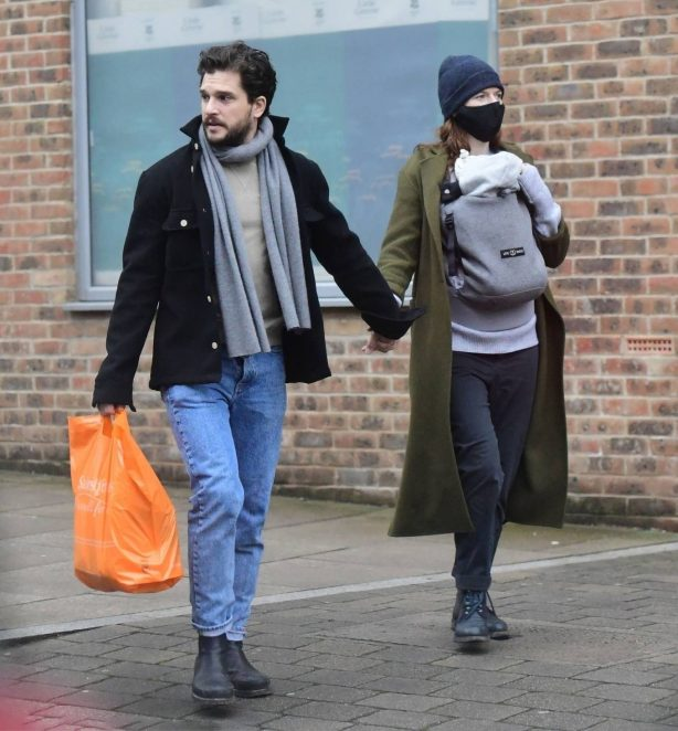 Rose Leslie - With Kit Harington with their newborn baby in London