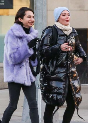 Rose McGowan and friend - Out in New York