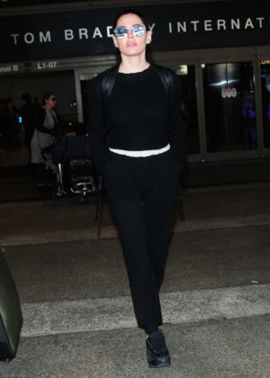 Rose McGowan at LAX International Airport in Los Angeles