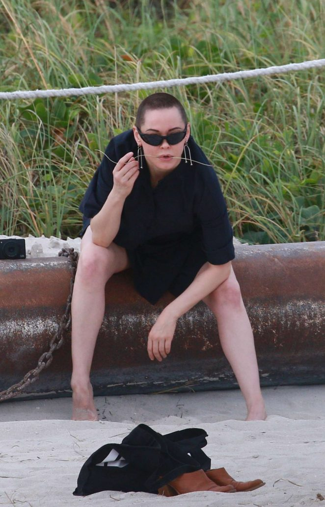 Rose McGowan on a photoshoot in Miami