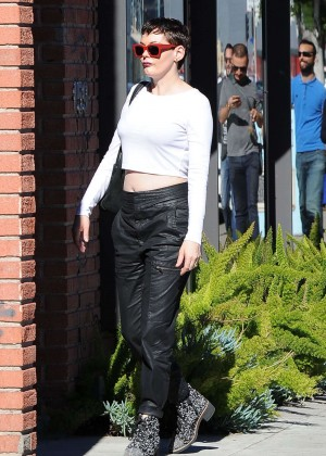 Rose McGowan in Leather Out in LA