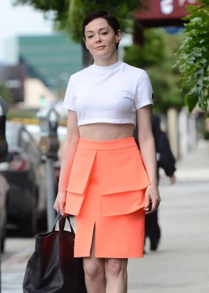 Rose McGowan in Orange Skirt Out in West Hollywood