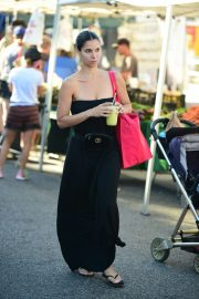 Roselyn Sanchez in Long Black Dress - Shopping at the Farmers Market in Studio City