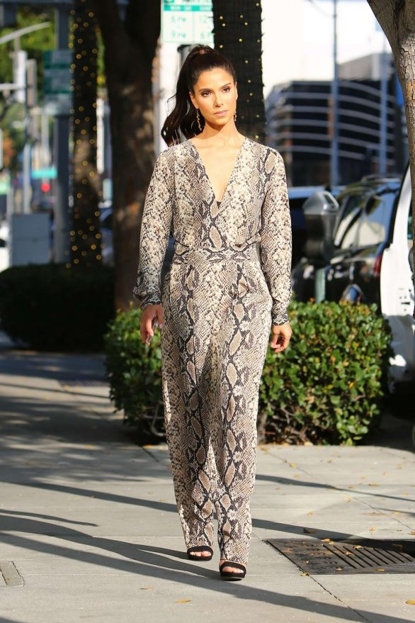 Roselyn Sanchez in Snakeskin Jumpsuit on Rodeo Drive in Beverly Hills