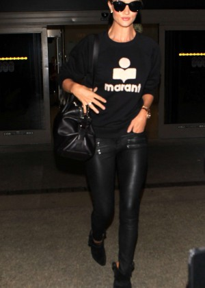 Rosie Huntington Whitele in Leather Pants at LAX in LA