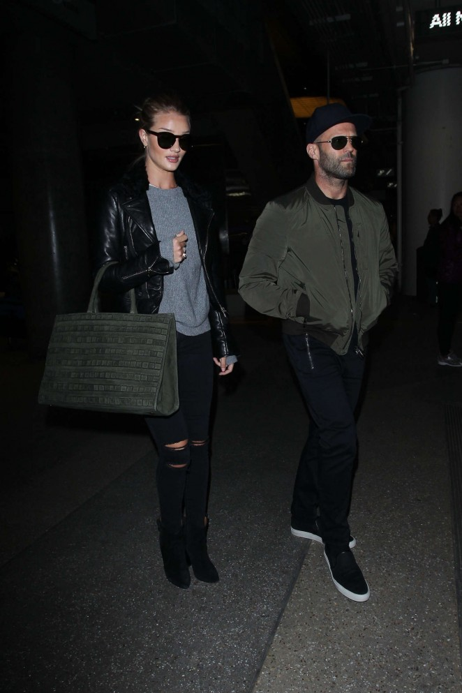 Rosie Huntington Whiteley and Jason Statham at LAX Airport in LA