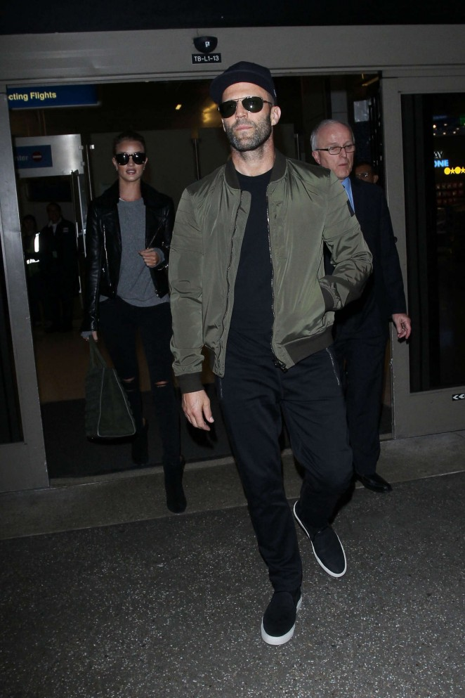 Rosie Huntington Whiteley and Jason Statham at LAX -10