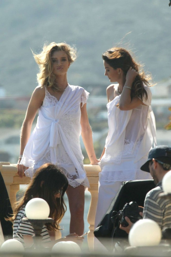 Rosie Huntington Whiteley and Lily Aldridge on a Photoshoot in Malibu