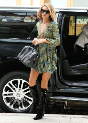 Rosie Huntington Whiteley in Mini Dress at Crosby Hotel in NYC
