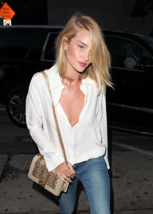 Rosie Huntington Whiteley in Jeans at Craigs Restaurant in West Hollywood