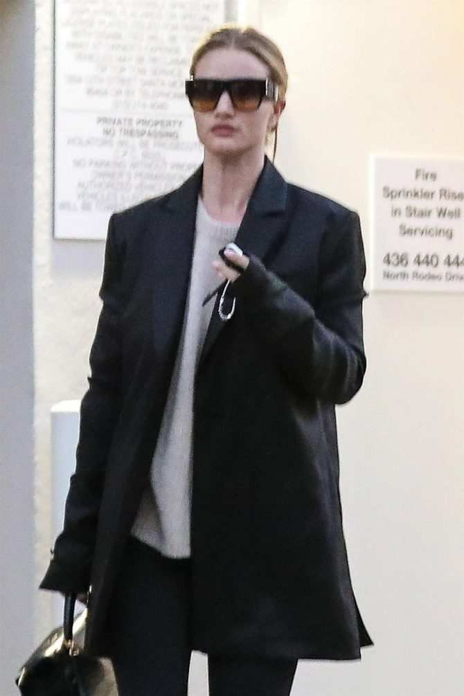 Rosie Huntington Whiteley at Lancer Skin Care Clinic in Beverly Hills