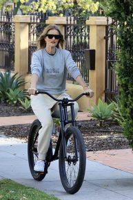 Rosie Huntington Whiteley enjoys a bike ride in Los Angeles
