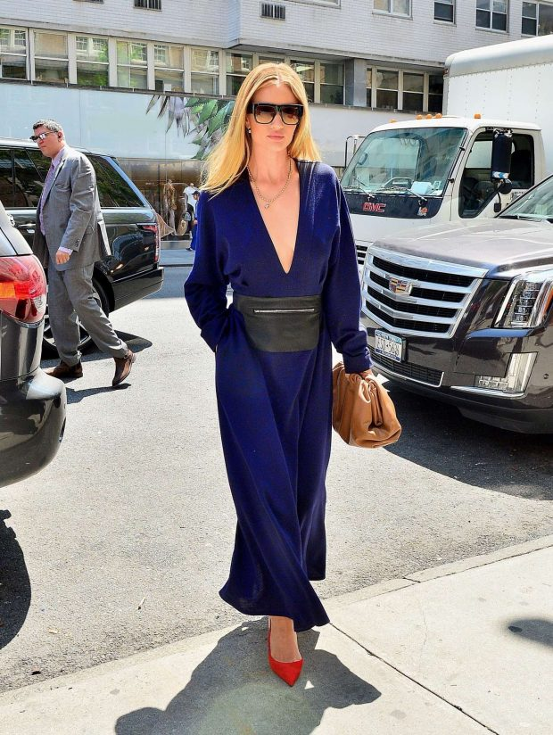 Rosie Huntington Whiteley in a Blue Jumpsuit - Out in NYC