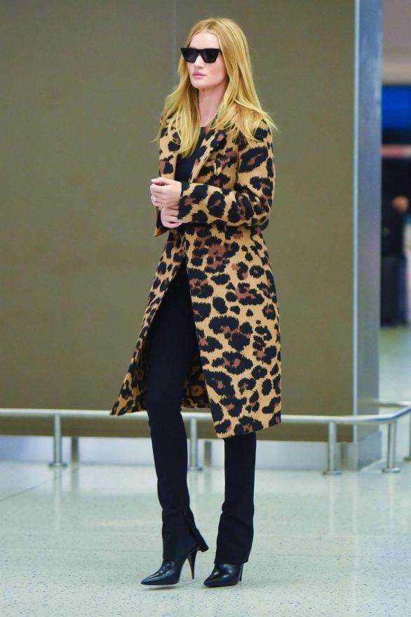 Rosie Huntington Whiteley in Animal Print Coat - Arrives at JFK Airport in NYC