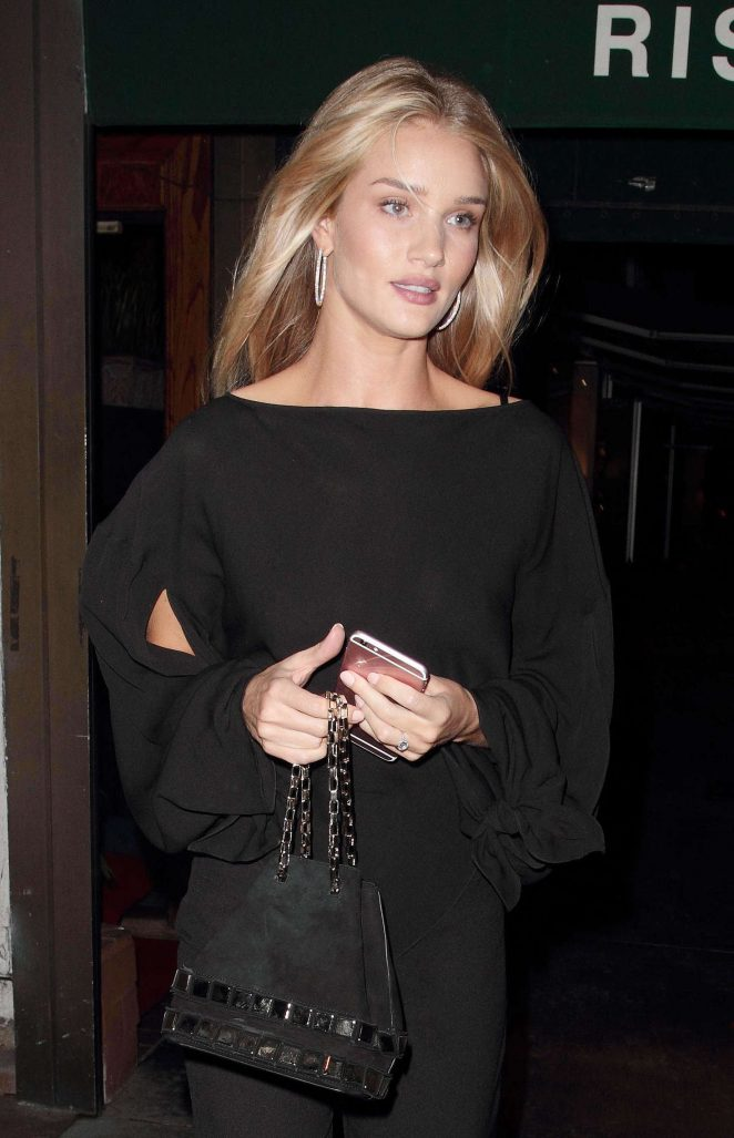 Rosie Huntington Whiteley in Black at the Madeo Restaurant in Hollywood