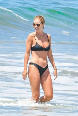 Rosie Huntington Whiteley in Black Bikini at the beach in Malibu