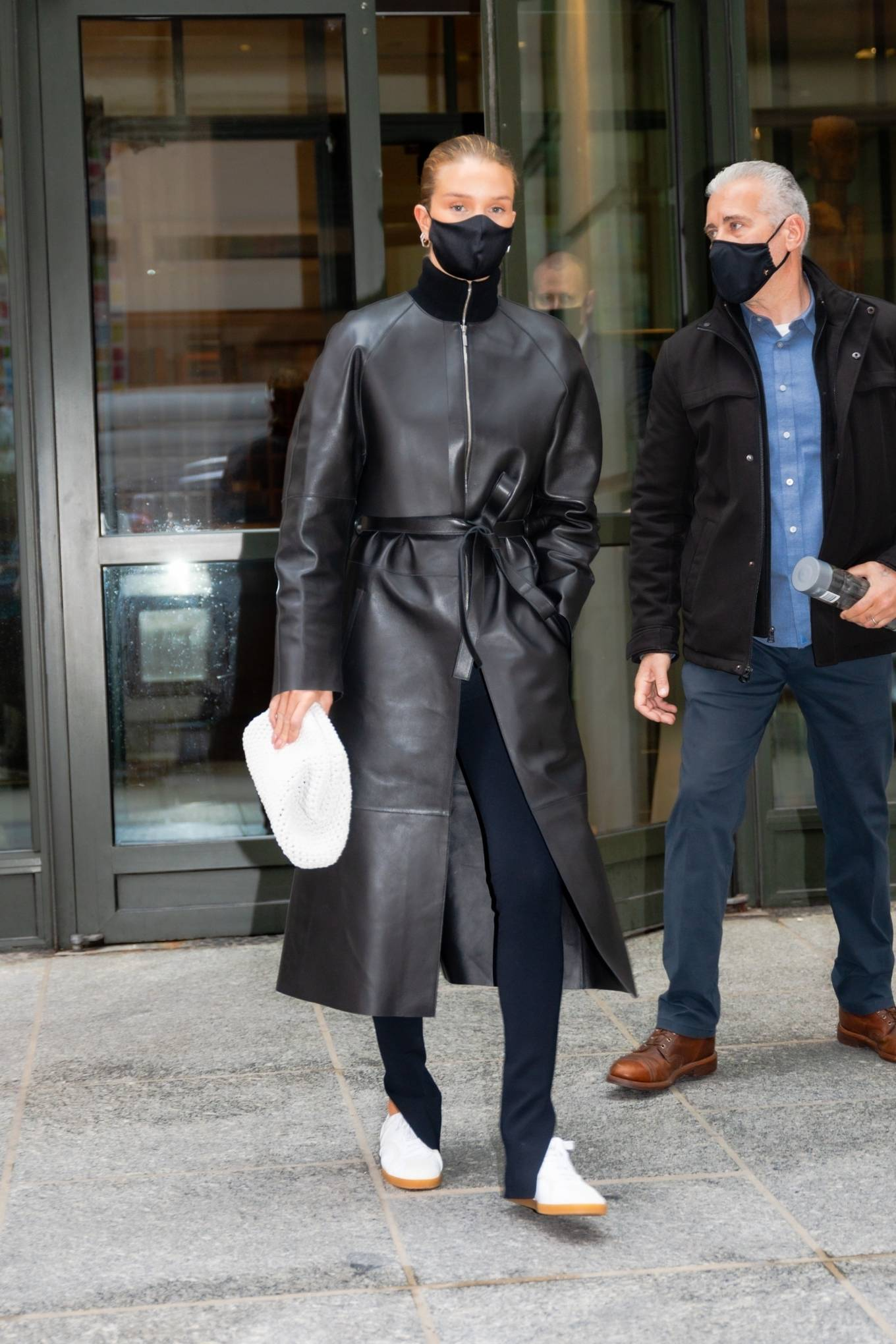 Rosie Huntington-Whiteley - In black leather coat out from the Crosby hotel in New York