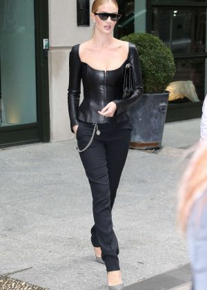 Rosie Huntington Whiteley in Black Leaving a hotel in NYC