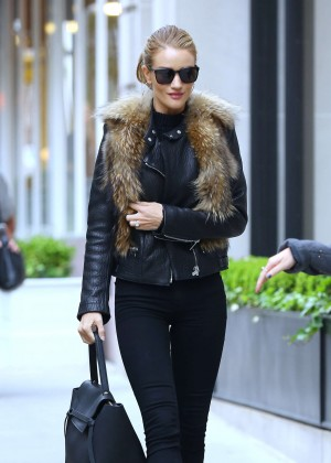 Rosie Huntington Whiteley in Black Pants in New York