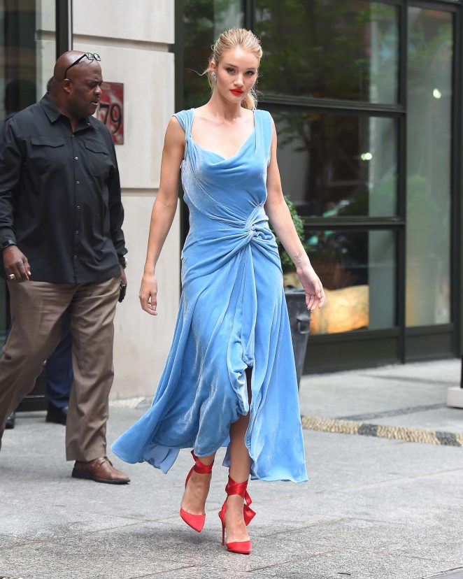 Rosie Huntington Whiteley in Blue Dress - Out in New York City