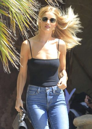 Rosie Huntington Whiteley in Crop Top and Jeans out in Venice