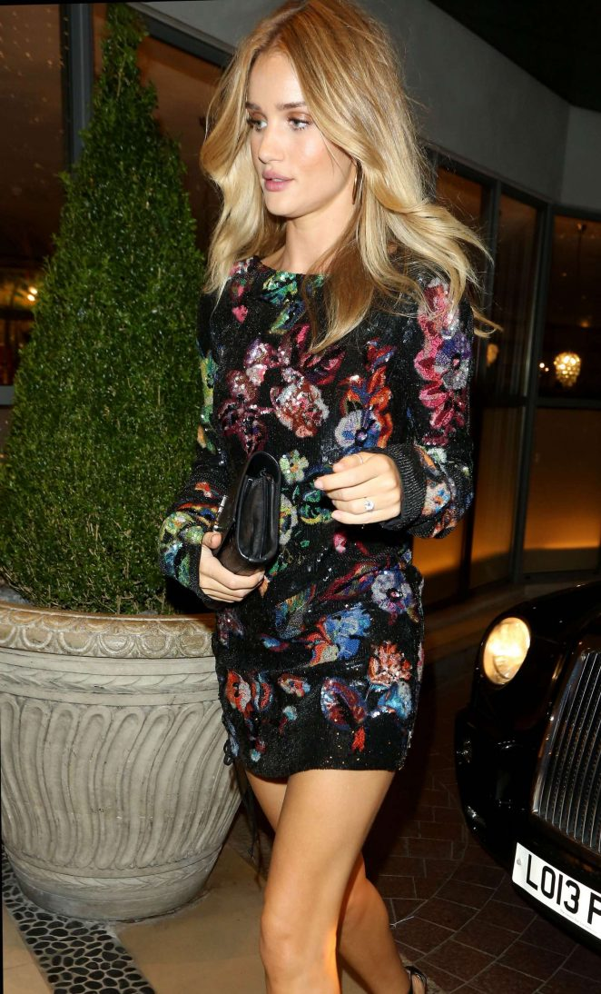 Rosie Huntington Whiteley in Floral Mini Dress at Soho Hotel in London