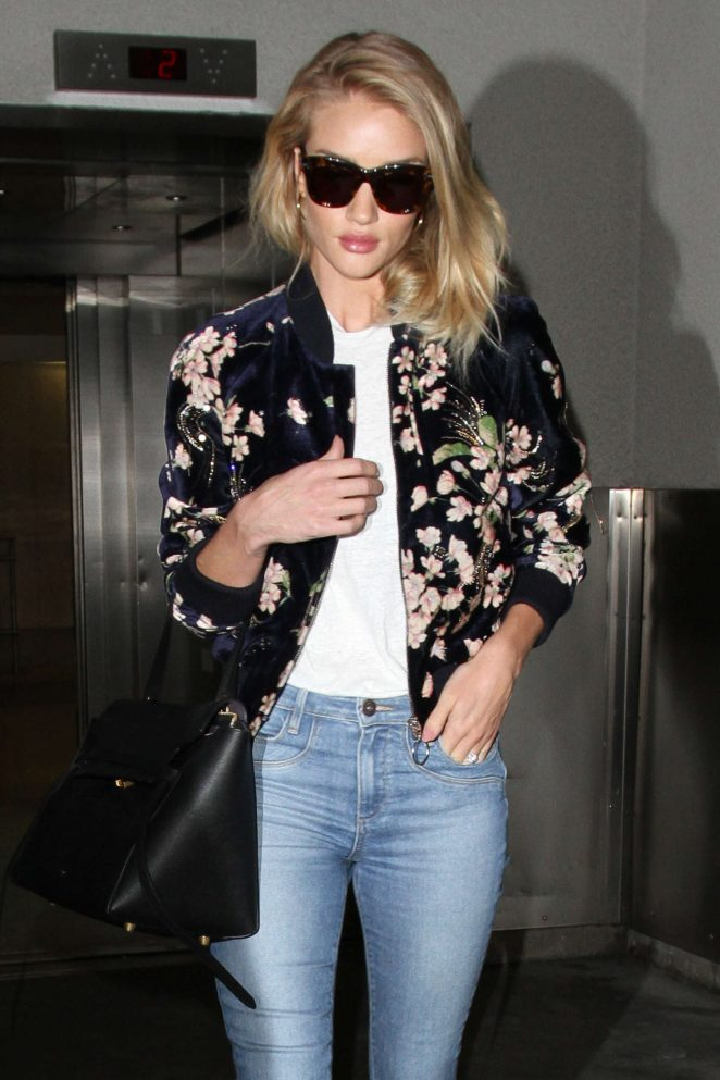 Rosie Huntington Whiteley in Jeans at LAX Airport in Los Angeles